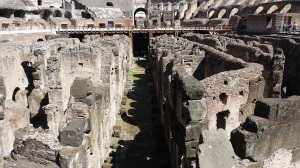 Inside the Colosseum, the maze of underground passages (© Hannah Keet)